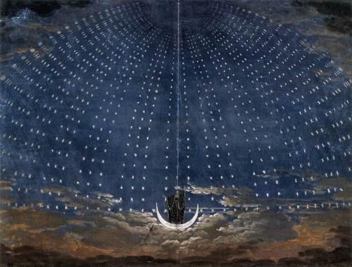 Flûte Enchantée Proposition de décor pour l'arrivée de la Reine de la Nuit - 1815 - Karl Friedrich Schinkel.