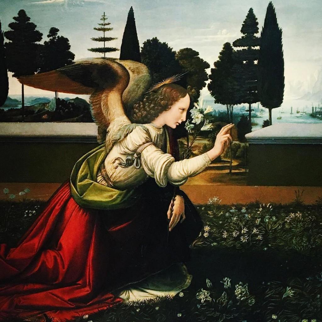 Dtail de LAnnonciation Leonard de Vinci Florence